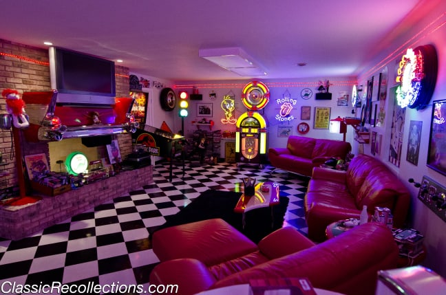 Rick Burke created this 1950's themed basement after seeing inspiration from diners and drive-ins.
